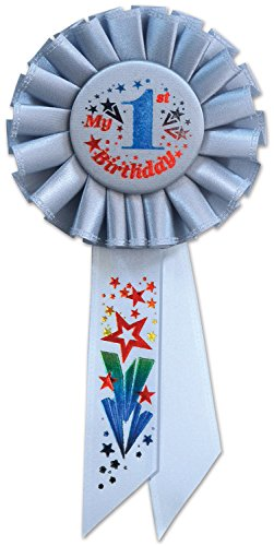 Beistle RS051B My 1st Birthday Rosette, 3-1/4 by 6-1/2-Inch