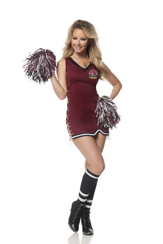 Mystery House Women's Mystic Falls Cheerleader, Burgundy/Black, (Halloween Costumes Vampire Cheerleader)