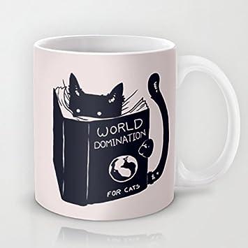 Dominación del mundo para gatos taza de café de cerámica taza impresa taza divertida C mango C...: Amazon.es: Hogar