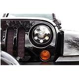 "7"" Inch Black Round H4 Led Headlight w/DRL replacement for H6014 / H6015 / H6017 / H6024 conversion for Jeep Wrangler JK/TJ/LJ/CJ Hummer H1 Harley - 9-32v DOT"