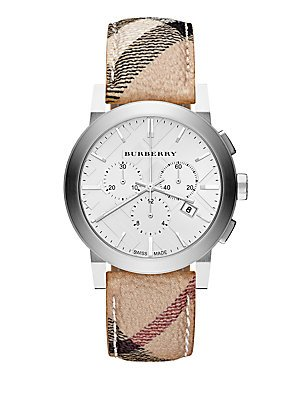 Burberry The City Silver Dial Haymarket Check Fabric Unisex Watch - Burberry Discount