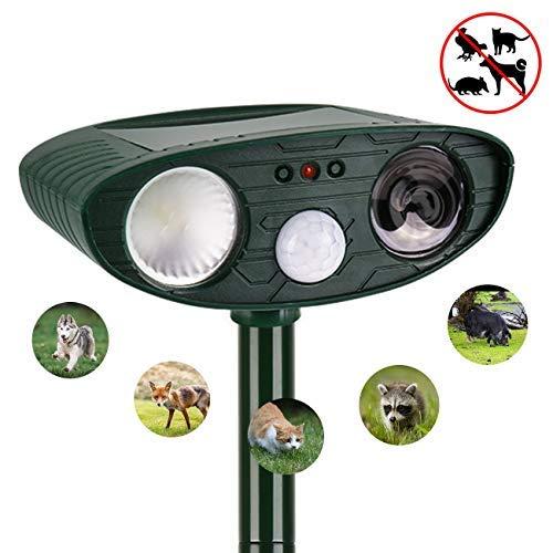 JaneSame instecho Dog Repellent Ultrasonic, Outdoor Solar Powered and Weatherproof Ultrasonic Pest Repeller with PIR Sensor