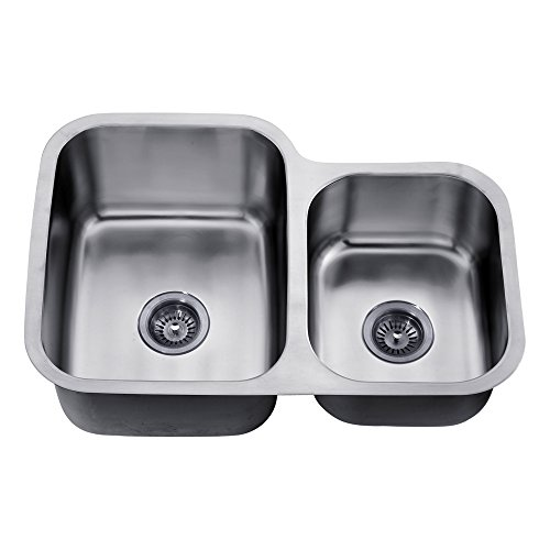 Dawn ASU110R Undermount Double Bowl Sink, Polished (Satin Polished Double Bowl)