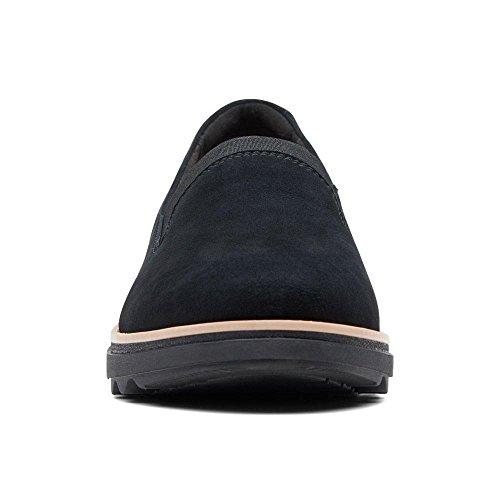 Clarks Fumo Scarpe Zeppa Pantofola di Scamosciata Mocassino Nero Camoscio xqfxYwErz