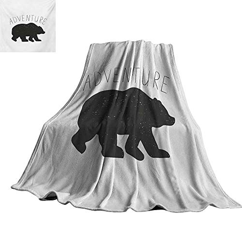 Adventure Fleece Bear - Adventure,Fleece Blanket Black Silhouette of a Wild Bear Zoo Animal Nature Passion Hipster Design Custom Blankets 70