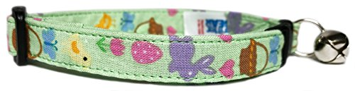 Picture of Breakaway Cat Collar in Lime Green Easter Bunnies & Chicks (U.S.A. Made)