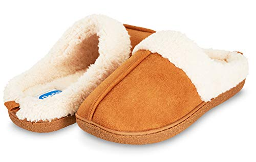 Suede Clog Microfiber (Floopi Womens Indoor Outdoor Fur Lined Clog Slipper W/Memory Foam (XL, Chestnut-301))