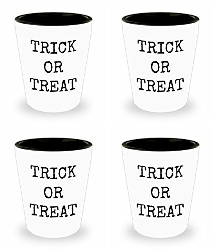 Halloween Shot Glass Set of 4 Trick or Treat Funny Happy Ceramic Standard Size 1.5 oz Perfect Gift All Hallow Eve Work Office Party Celebrate Toast in Style for Everyone -