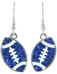 Flat Football Rhinestone Fish Hook Earrings - Royal Blue Crystals with White Enamel Stripes