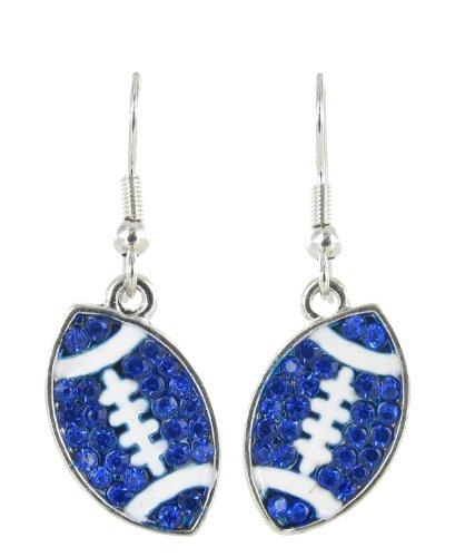 Flat Football Rhinestone Fish Hook Earrings - Royal Blue Crystals with White Enamel Stripes