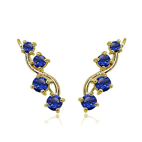 (Gold Flash Sterling Silver Created Blue Sapphire Vine Climber Crawler Earrings for Women)
