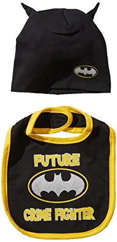 DC Comics Baby Boys Superhero Bib Set, Batman Caped Bib and Hat Set, 0-12 (Batman Infant Bib)