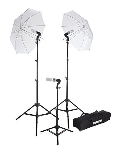 Fovitec StudioPRO 675W Triple Translucent Umbrella Continuous Bright Lighting Kit for Photo, Photography, Film & Video Studio – (Set of 3)