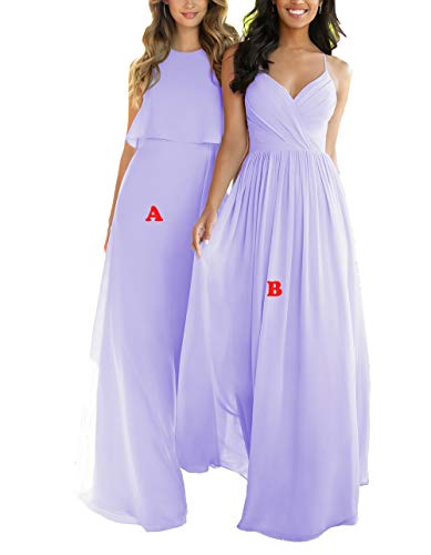 Nicefashion Women's Elegant High Neck Floor Length Chiffon Bridesmaid Dresses Pleated Skirt Lavender US10