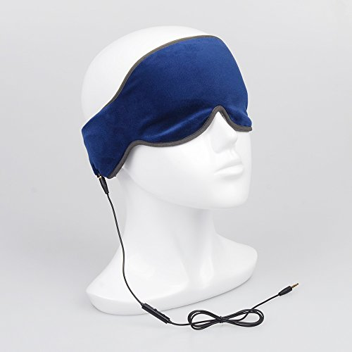 Price comparison product image Sleep Headphones Eye Mask Comfortable Washable Eye Shades Wired Headset with Mic,Control Button Built-in Earphone and Ultra Thin Speaker,Perfect for Sleeping,Air Travel,Meditation and Relaxation,Blue