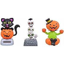 Solar Powered Halloween Dancing Figures: Sitting Pumpkin, Totem Pole Skull Heads, Black Cat - 3 Piece Bundle Set