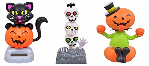 Solar Powered Halloween Dancing Figures: Sitting Pumpkin, Totem Pole Skull Heads, Black Cat - 3 Piece Bundle Set -