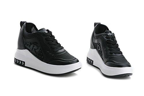 Talón Sandalias al Deportes Cuñas Oculto Hollow Negro Mujer Correr para para Aire Zapatillas Casuales Zapatos ZXMXY Talón Libre Transpirable Zapatos wxzIZqp0an