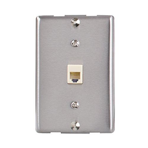 (AmerTac - Zenith TW1001WPS TW1001WPS Universal Wall Phone Jack, Sivler Landline Telephone Accessory)