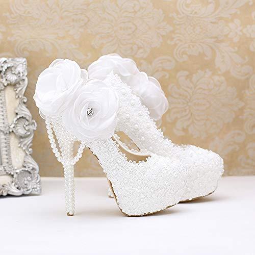 Trente Impermable 12cm Marie Hauts Talons De Gtvernh Femmes Chaussures Pour Plateforme En Dentelle Avec Mariage Pendentif Blanche Superbes Perle Femme Cinq Fleur OxRxPp