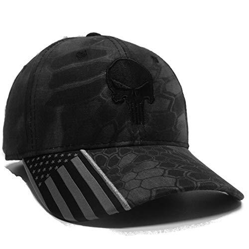 Kryptek Punisher Hat Highlander Typhon Skull Army Cap Tactical US Flag (Typhon W/Black)