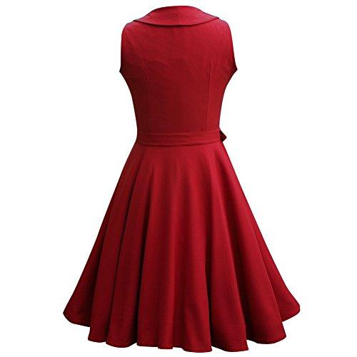 WintCO Vestidos de Fiesta para Bodas Vestidos Retro Vintage Waltz Rockabilly Audrey Hepburn de Años 50 Vestido Plisado con Cinturón botones para Negocios ...