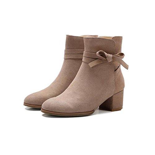 breve 35 Signore femminile Bootie Stivali in Casual nabuk temperamento nel scarpe Bow il caviglia nudo APRICOT con 34 pelle grossolana RAPqTR7