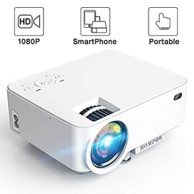 """Mini Projector - 2400Lux Hompow Portable Video Projector 1080P Supported 176"""" Display, 50,000 Hours Led, Compatible W/TV Stick/HDMI/VGA/USB/TV Box/Laptop/DVD/PS4/Wii for Home Theater, Game&Party"""