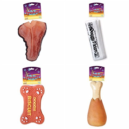 Spunkeez 4 Piece Squeaky Dog Toys Package T-Bone, Newspaper, Drumstick and Doggie Biscuit (Squeaky Bone)