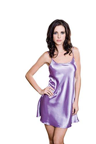 iCollection Women's Satin Chemise, Lavender, Large/X-Large Lavender Chemise