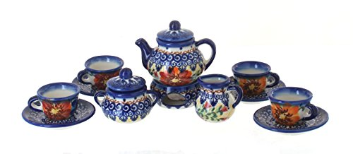 Polish Pottery Autumn Burst Miniature Tea Set (Polish Pottery Miniature Tea Set)