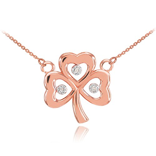 14k Rose Gold Shamrock Charm Three Diamond Clover Leaf Pendant Necklace, 16""