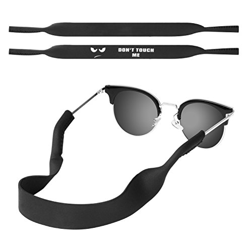 MoKo Neoprene Eyewear Retainer, [2 Pack] Universal Fit No Tail Sports Sunglasses Retainer, Sunglass Strap Safety Glasses Holder for Men, Women - Black & Dont Touch Me