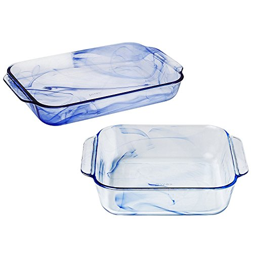 Trojans Art Glass - Pyrex Watercolor Blue Lagoon Glass Baking Dishes, 3 Quart Oblong and 2 Quart Square