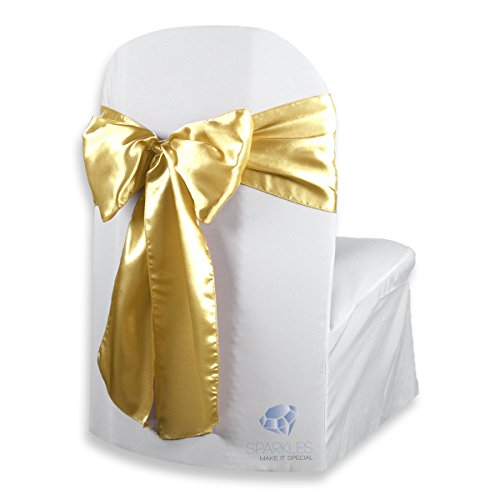 (Sparkles Make It Special 150 pcs Satin Chair Cover Bow Sash - Gold - Wedding Party Banquet Reception - 28 Colors Available)