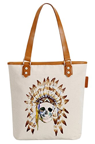 So'each Women's Indian Skull Printed Canvas Tote Pearly Top Handle Shoulder Bag