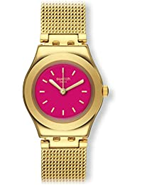 Swatch Women's 25mm Gold-Tone Metal Bracelet Steel Case Quartz Pink Dial Analog Watch YSG142M