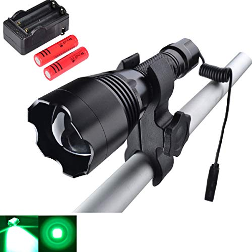 WINDFIRE WF-360G Green Hunting Light 350 Yards Coyote Light Zoomable LED Tactical Flashlight Gear Hog Fox Predator Night Hunting Light Kit with Remote Cable Switch Scope Mount 18650 Batteries -