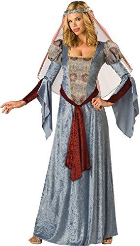 Ladies Long Blue Medieval Maid Marian Renaissance Fancy Dress Costume Outfit UK 8-18 ... (UK 10-12)