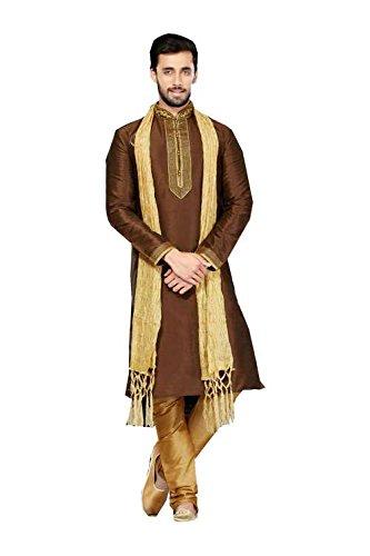 PCC Mens Kurta Pajama Wedding Art Dupion Brown India Party Wear Set Of 3 by PinkCityCreations