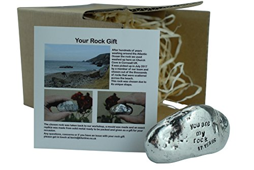 17th Anniversary You Are My Rock Gift Idea - Solid Metal Heavy Polished Rock Gift for 17 Year Anniversary