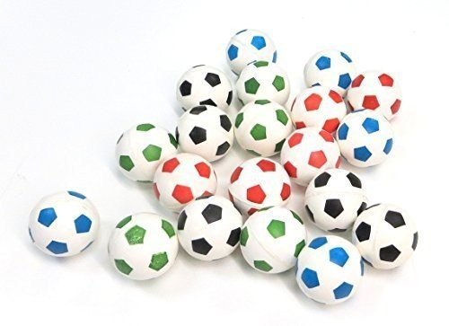 Soccer Super Balls - Set of 20 . Super Bouncy Balls in assorted colors (27 MM Size) Football Bouncy Balls