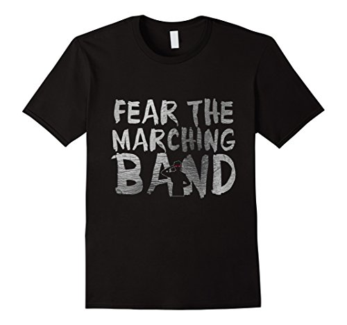Marching Band Halloween Costumes (Mens Funny Halloween Shirts Fear The Marching Band Zombie Large Black)