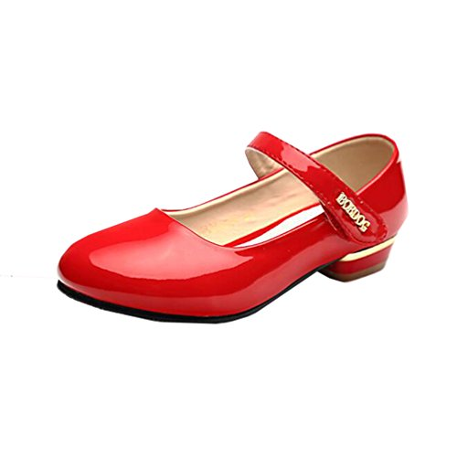 miaoshop Blumen Mädchen Prinzessin niedrige Ferse Schuhe Tanz-Abschlussball-formales Dressy Mary Jane Rot