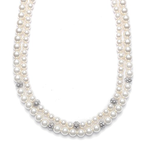 Mariell Luxurious Vintage 2-Row Ivory Glass Pearl Bridal Wedding Necklace - Platinum Plated CZ Fireballs