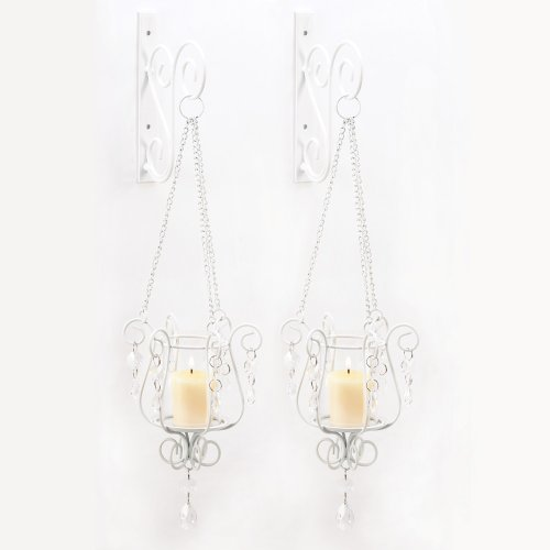Gifts & Decor 57070439 Sparkling Candle Sconce Duo, White (Crystal Candle Holder Wall Sconce)