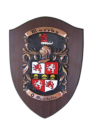 Hand-Painted Copper Shield on American Walnut. - Family Crest Gifts