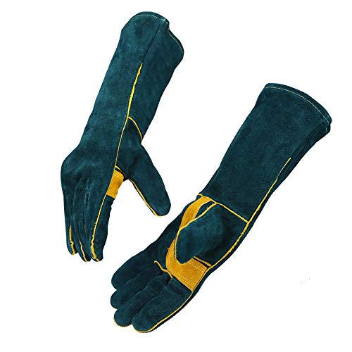 Handing workshop Welding Gloves EXTREME HEAT RESISTANT Cow Split Leather BBQ Camping Cooking Weld Gloves Baking Grill Gloves Mitts for Tig Welder Fireplace Stove Pot Holder Glove by OLSON DEEPAK