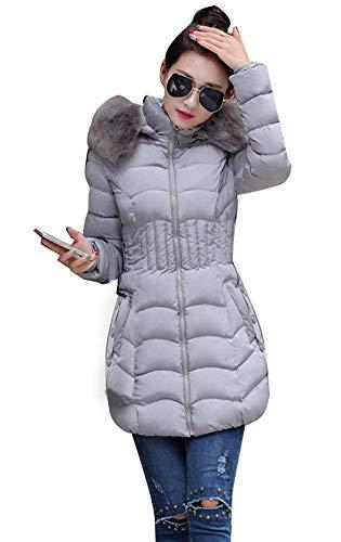 Warm Parka Longues Grau Elgante Femme Fourrure Capuchon paissir Fit Doudoune Taille Grande Mode Hiver Manches Slim breal avec Veste Doudoune Hiver Manteau HO7twAt1xq