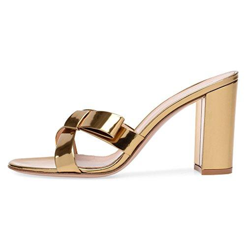 072 Mules Chaussures KJJDE Club Sexy 37 Transgenre Soirée Haut Mariage Gold Plateforme TLJ Femme Bowknot Fête Talon YY0Bwq4